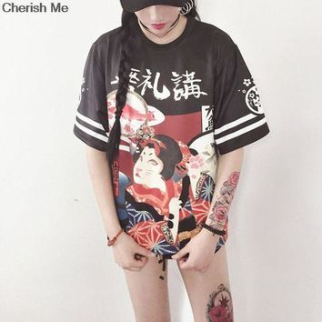 Genki Girl Japanese Street Style Exaggerated Printing Loose T Shirt Student Teenager Tops Letter Harajuku Cloth
