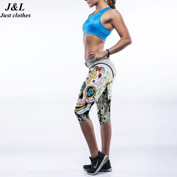 JLZLSHONGLE Sexy Women Sporting Leggings Slim Jeggings 2016 New 3D Print Short Legging Fitness Elastic 17 Styles Capri Pants