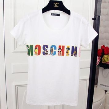 DCCKB62 MOSCHINO 2018 Summer New Short Sleeve T-Shirt White
