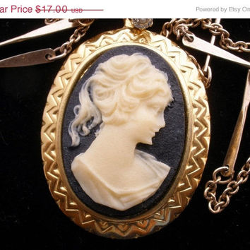 "Storewide Sale Avon Vintage Celluloid Cameo Necklace 24"" Gold tone Signed"