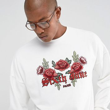 Sixth June Oversized Sweatshirt In White With Floral Logo at asos.com