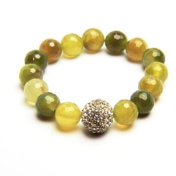Gilded Crystal Accent Agate Stretch Bracelet