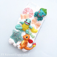 Ready To ship pokemon starter ft Bulbasaur Charmander and Squirtle inspired decoden phone case for iPhone 6