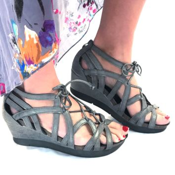 Cross Your Heart Lace Up Pewter Sandal