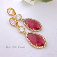 Red Wedding Earrings Gold Ruby Bridal Jewelry Prom - Vivian Feiler Designs | Wedding Jewelry |