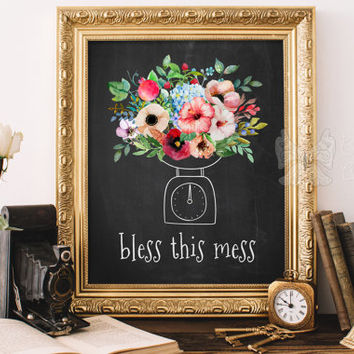 Bless this mess printable kitchen decor Home decor Watercolor flower art Flower framed quotes wall art Floral kitchen art flowers prints