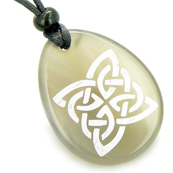Magic Celtic Shield Knot Amulet Natural Agate Stone Pendant Necklace