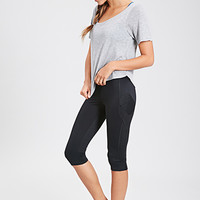 FOREVER 21 Side Pocket Performance Capris Black/Black