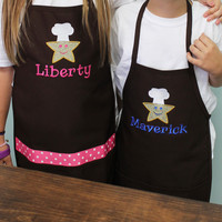Embroidered Sibling Apron Set with Star Chef Design and Name