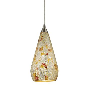 546-1SLVM-CRC Curvalo 1 Light Pendant In Satin Nickel And Silver Multi Crackle Glass - Free Shipping!