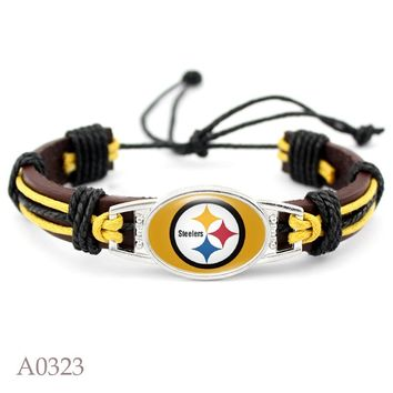 New Design Pittsburgh Steelers Team Charms Real Leather Bracelet Men Bracelets & Bangles USA Football Jewelry 10pcs/lot