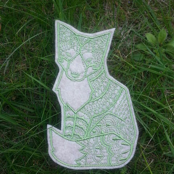 Iron On Patch Tribal Fox Applique in Sand and Avocado Green