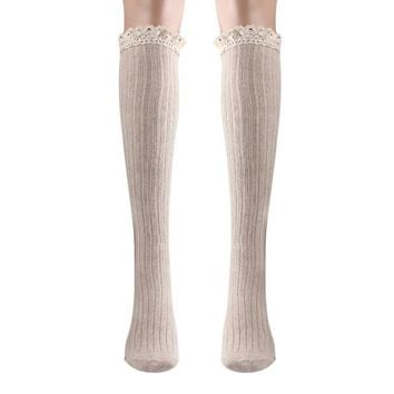 Women Girl Lace Boot Cuffs Women Long Stocking Warmer Cotton Leg Long Tube Stockings Compression Stockings Cuissardes #635