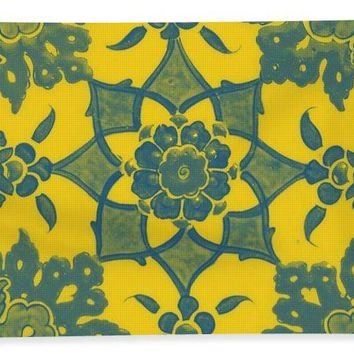 An Ottoman Iznik Style Floral Design Pottery Polychrome, By Adam Asar, No 13n - Bath Towel