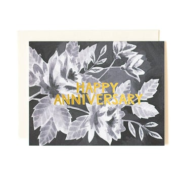 Black Floral Anniversary greeting card