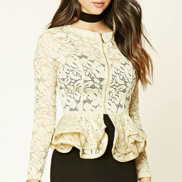 Zippered Lace Peplum Jacket