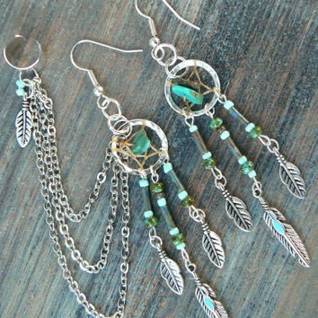 turquoise dreamcatcher ear cuff  SET