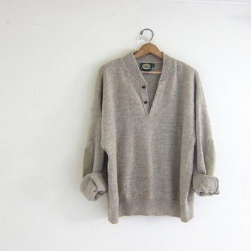 Vintage oversized henley sweater. buff colored button pullover with elbow patches. wool blend
