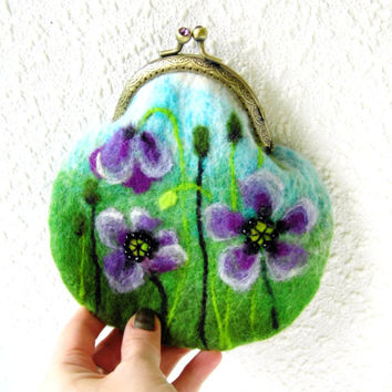 Purple Poppies FLOWER Felted coin purse Ready to Ship with bag frame metal closure Unique Felt Handbag gift for her
