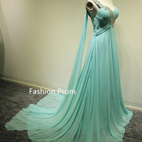 Custom Made A line Sweetheart One Shoulder Chiffon Long Prom Dresses, Cheap Prom Dresses, Evening Dresses, Formal Dresses