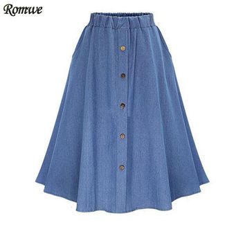 CREYET7 ROMWE Ladies Casual Skirts Summer 2016 New Womens Plain Elastic Waist Denim Flare Pleated Midi Skirt With Buttons