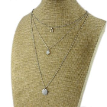 New European and American jewelry personality simple multi-layer necklace gold and silver two-color metal clavicle chain shiny gem necklaces JR