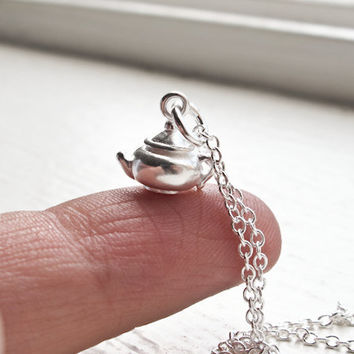 Tiny Teapot Necklace- Sterling Silver Tea Pot Charm with Sterling Silver Chain- Minimalistic Jewelry- FREE WORLDWIDE SHIPPING