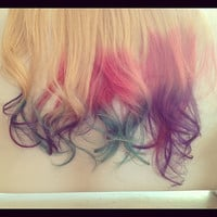 Ombre Hair, Tie dye Hair, Dipped Human Hair Extensions, Blonde Extensions, Clip in Hair Extensions, Pink and Purple Pastels