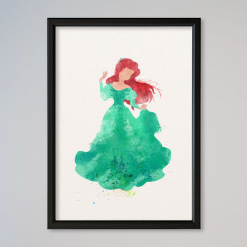 Ariel Watercolor Princess Ariel Watercolor print Disney Mermaid Ariel Mermaid watercolor poster Kids art Wall art