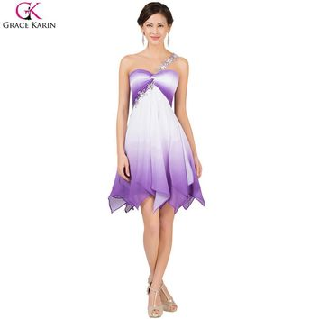 Grace Karin Cocktail Dresses Purple Ombre Robe de Cocktail Dresses Summer Knee Length Formal Prom Dress Short Party Gown 7540