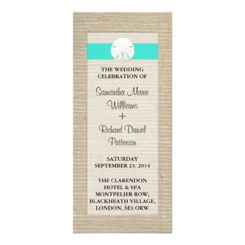 Turquoise Burlap Sand Dollar Beach Wedding Program Custom Rack Card