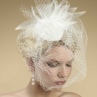 Bridal Hat with Feathers and Birdcage Veil by Mariell