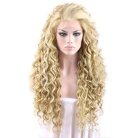 ANDI ROSE Women Girls Wavy Curly Synthetic Full Hair Extension Cosplay Ladies Wig (22 Inch, Gold)