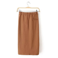 Plain Strechable Midi Skirt