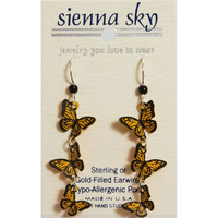 Sienna Sky Dangle Earrings Metal Three Monarch Flying