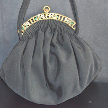 Vintage Guild Creations Black Rayon Crepe Handbag Ornate Floral Frame