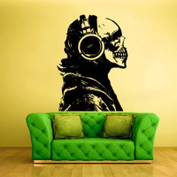 Wall Decal Vinyl Sticker Decals Headphones Skull Audio Musican Jazz Man Music (z1473)