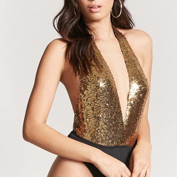 Plunging Sequin Bodysuit