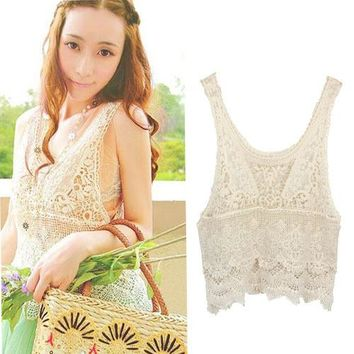 JECKSION Summer Vintage designs 2015 Lace Crochet Hollow Tank Tops Women Hippie Bohemian Sexy Tank Vest Top Free Shipping