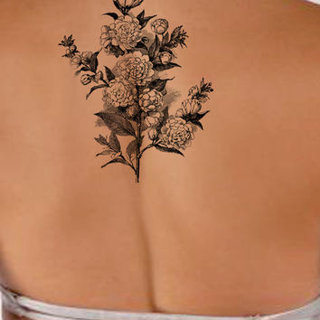 Vintage rose Floral temporary tattoo, Fashion Tattoo
