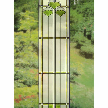 Arts and Crafts Tall Ginkgo Stained Glass Panel