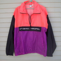 Vintage Ocean Pacific Neon Windbreaker Nylon Pullover Surfer Jacket Size Large