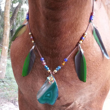 Macaw Feather and Geode Necklace for Horses - Green and Blue Jewelry for Horses