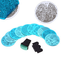 10pcs Nail Stamper Plate Set Nails Art Image Stamp Stamping Scraper Plates Manicure Template Pedicure Kit Tools free shipping