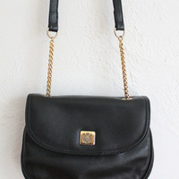 Vintage 80s Black Leather Small Purse with Gold Chain Strap // Women's Bag