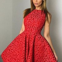 Red Floral Pleated Tutu Homecoming Party For Teens Fashion Mini Dress