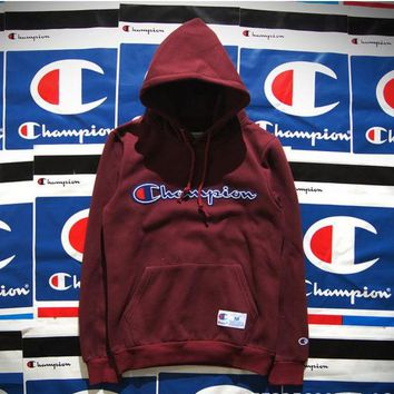 ONETOW Champion Hooded men and women who dress thickening couple costume Wine red