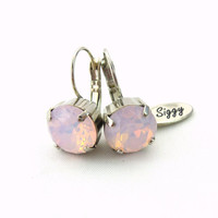 Rose Water Opal crystal earrings, opaque light pink, drop lever back, 11mm large stone -Siggy bling