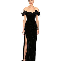 Marchesa Velvet Off the Shoulder Column Gown with High Slit Embellished with Laser-Cut Organza and Velvet Flowers