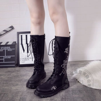 Half Rivets Women Biker Chukka Boots Genuine Leather Winter Cuban Heel New Arrival Bota Militar Boot Gothic British Style